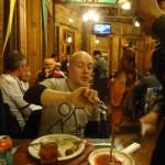 Action shot eating Churrasco meat.